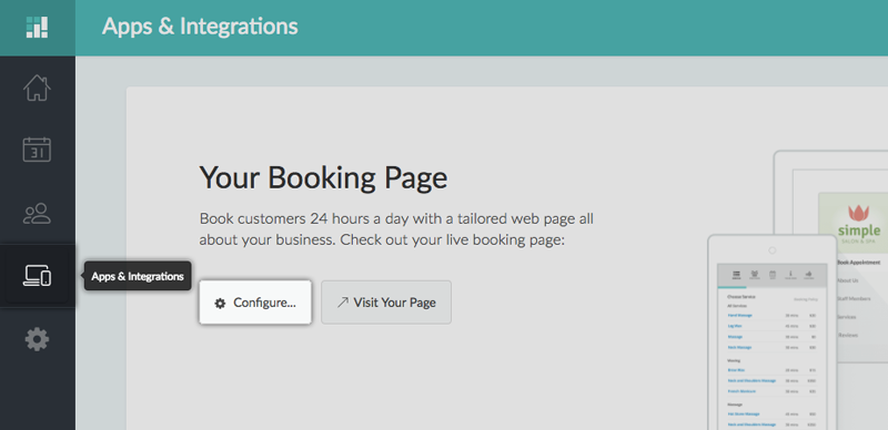 Clicking the Configure button under the Booking Page