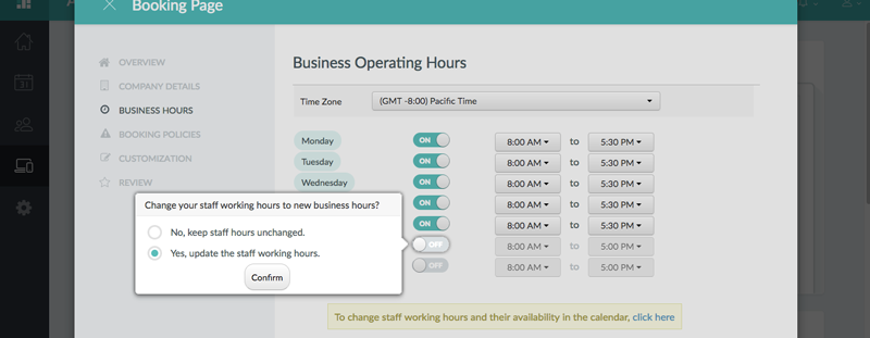 Updating staff working hours to match the business hours