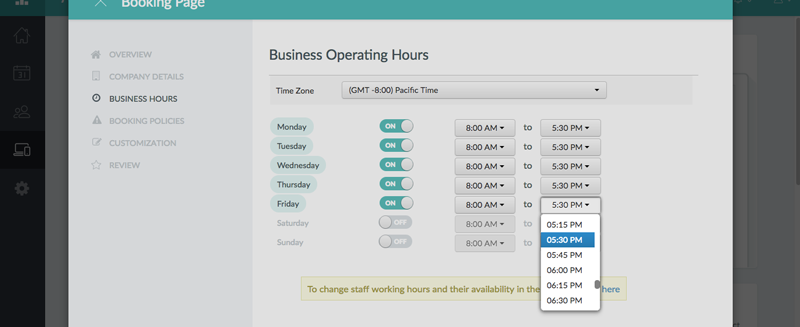 Adjusting the business hours for Friday