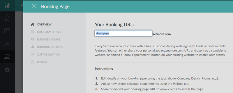 Entering a new Booking Page URL