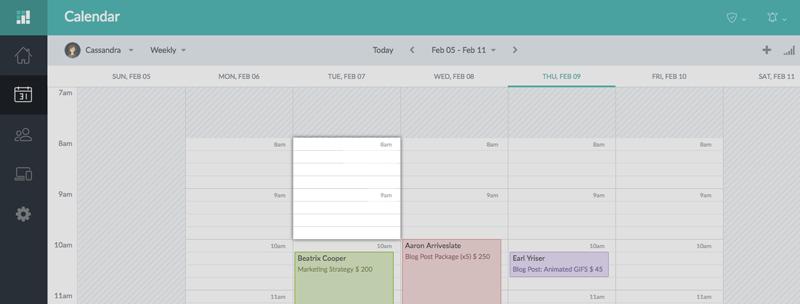 View of the Setmore calendar