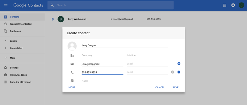 A contact being created on Google