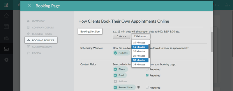 Choosing the Booking Slot Size for your Booking Page