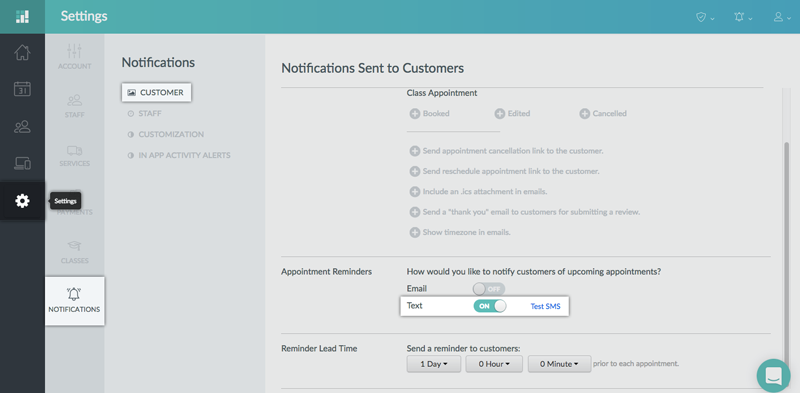Activating text reminders on the Setmore web app