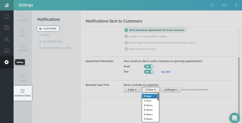 Choosing the appointment lead time on the Setmore web app