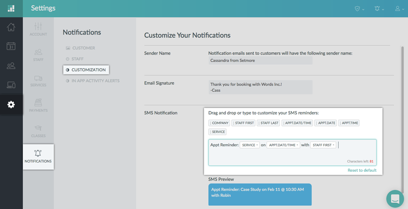 Customizing the template of text reminders