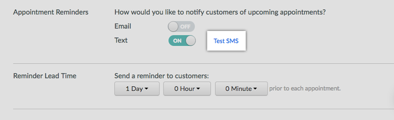 Testing the Text Reminders feature