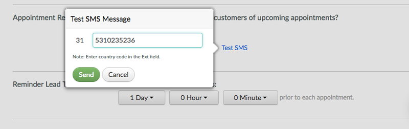 Inputting a number to send a test text reminder.