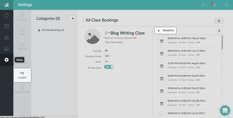 The Classes tab in the web app