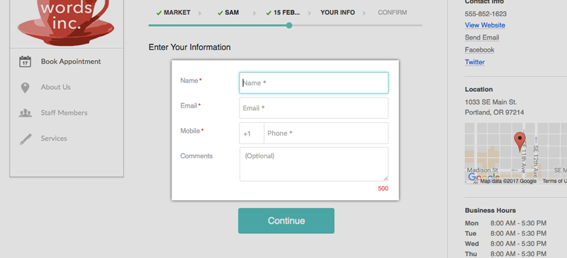 The Contact Fields on a Setmore Booking Page