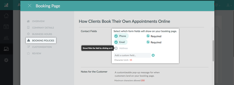Creating additional contact fields for the Booking Page