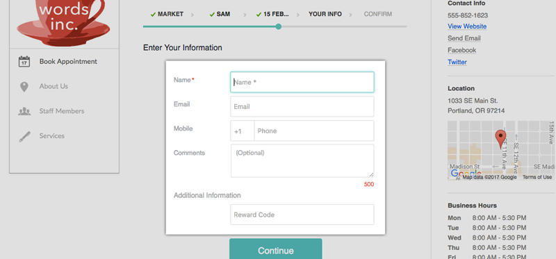 The Booking Page with additional custom contact fields