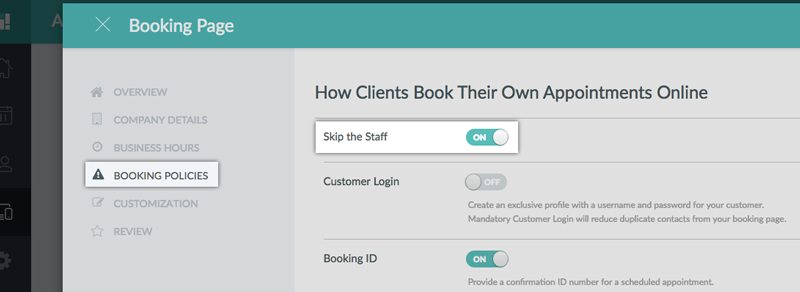 Enabling the Skip the Staff option on the Setmore web app