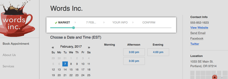 Booking page flow without the Staff tab