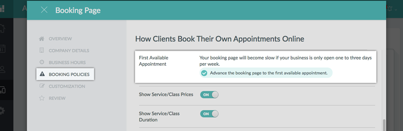 Checking the Advance to the first available appointment option