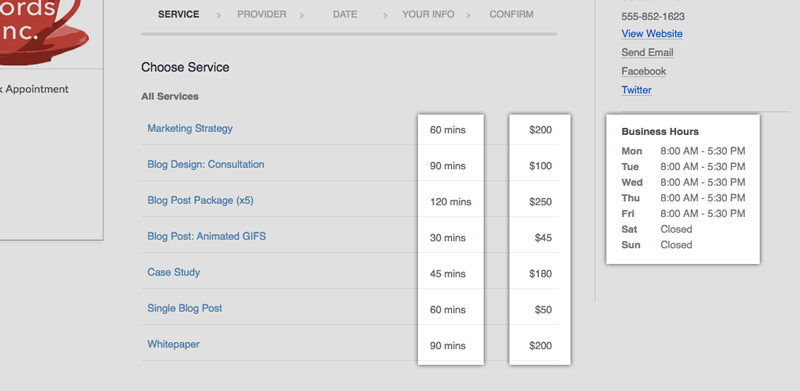 The Booking Page with price, duration and business hours highlighted