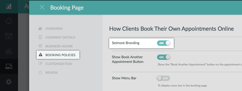 The Setmore Branding switch to show/hide the Setmore Branding