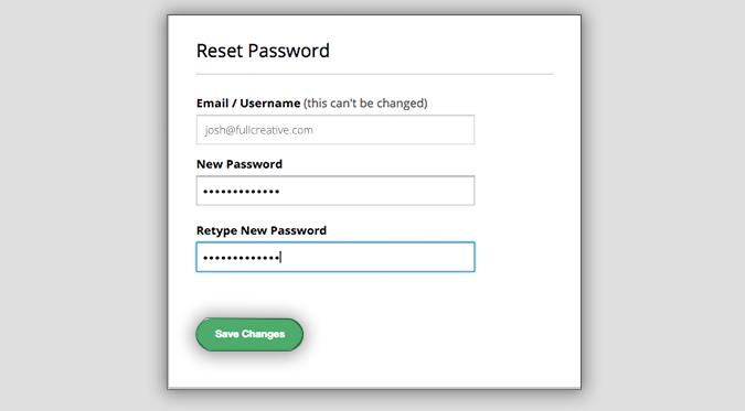 Setmore's Reset Password pop-up