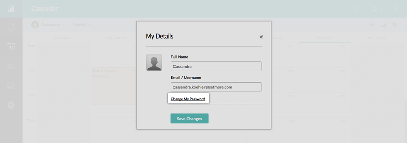 The My Details window in the Setmore web app