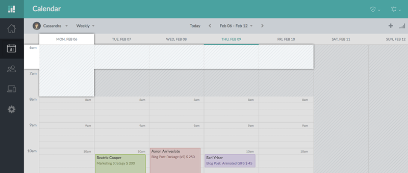 The Setmore calendar on the Web app
