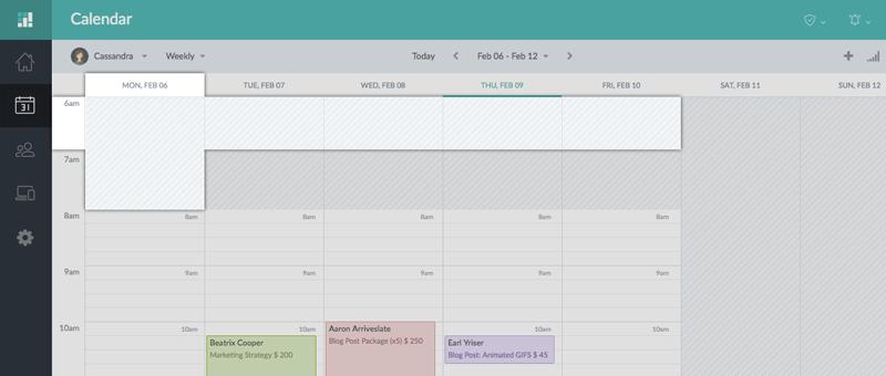 The Setmore calendar on the Web app