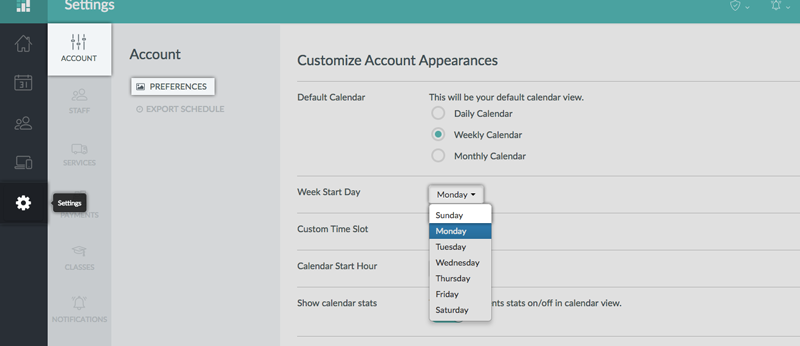 Setting the Week Start Day in the Preferences tab