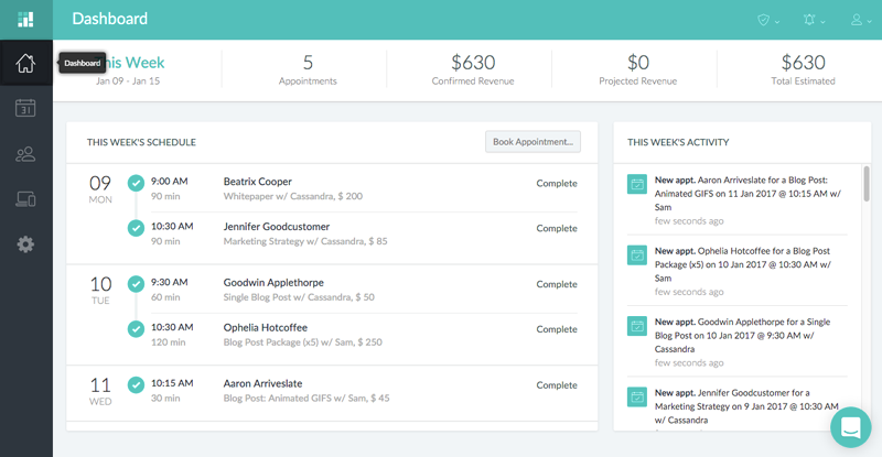 The Setmore dashboard on the Setmore web app