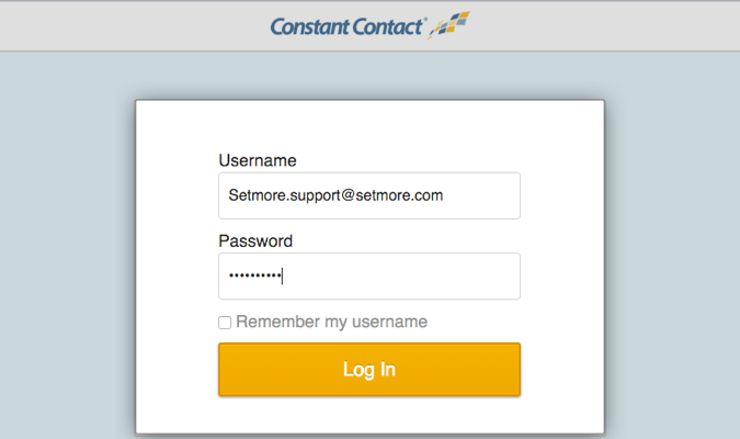 Logging into Constant Contact account