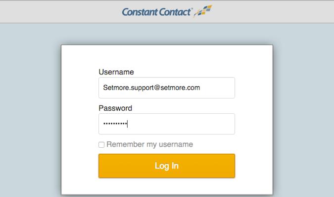 Logging into Constant Contact account