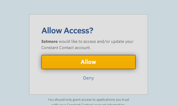 Granting Setmore the access to Constant Contact account.