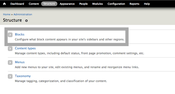 Configuring the content that appears on your Drupal site's sidebar