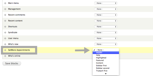 Choosing Setmore to appear on your Drupal site