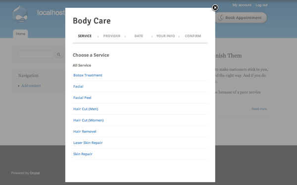 A view of the Booking Page opened on your Drupal site