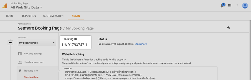 Viewing the Tracking ID for Google Analytics