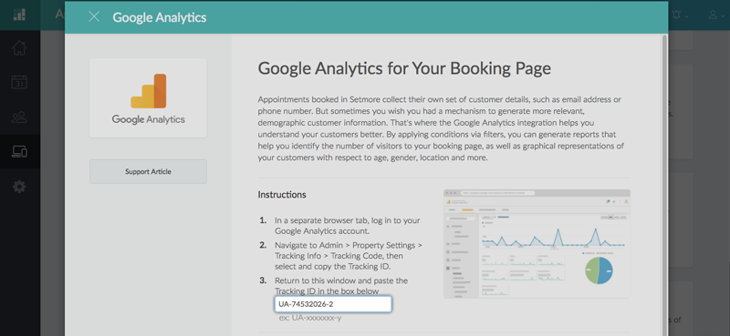 Inputing the Google Analytics Tracking ID in Setmore