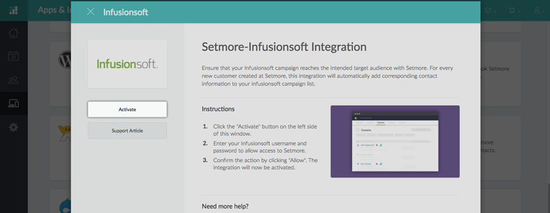 The Infusionsoft integration pop up window