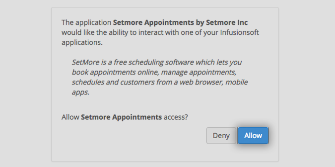 Providing Setmore the access to export contacts to Infusionsoft