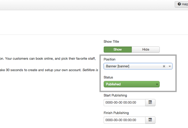 Configuring the Position of the Book Appointment button on Joomla