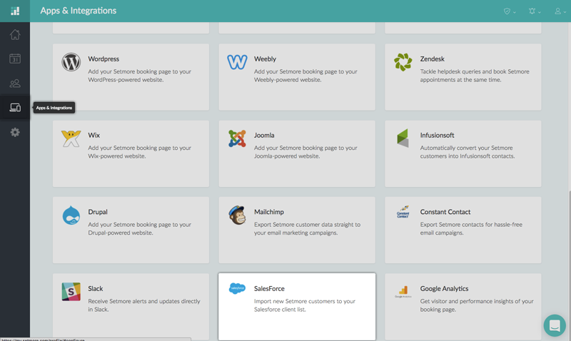 The SalesForce Integration card under Apps & Integration