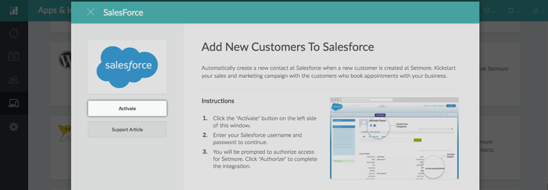 The SalesForce Integration pop-up window