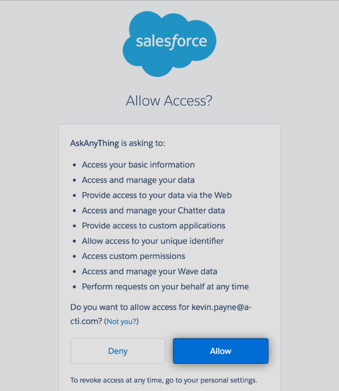 Granting access to Setmore to export contacts to SalesForce