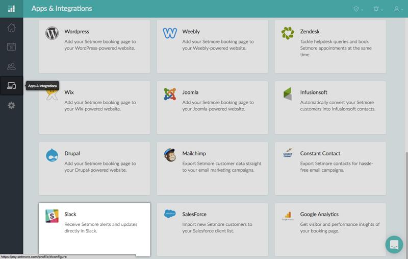 The Slack integration card under Apps & Integration