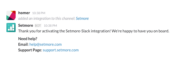 The Setmore alert in the Slack channel