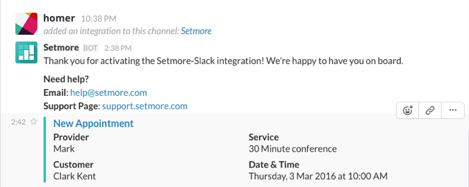 Appointment and event notification in the Slack channel