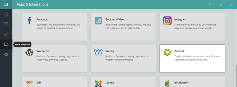 The Zendesk Integration card under Apps & Integrations