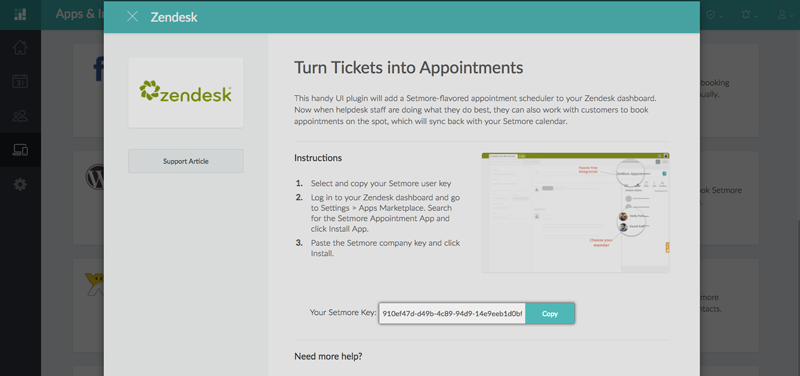 The Setmore Key inside the Zendesk integration pop up