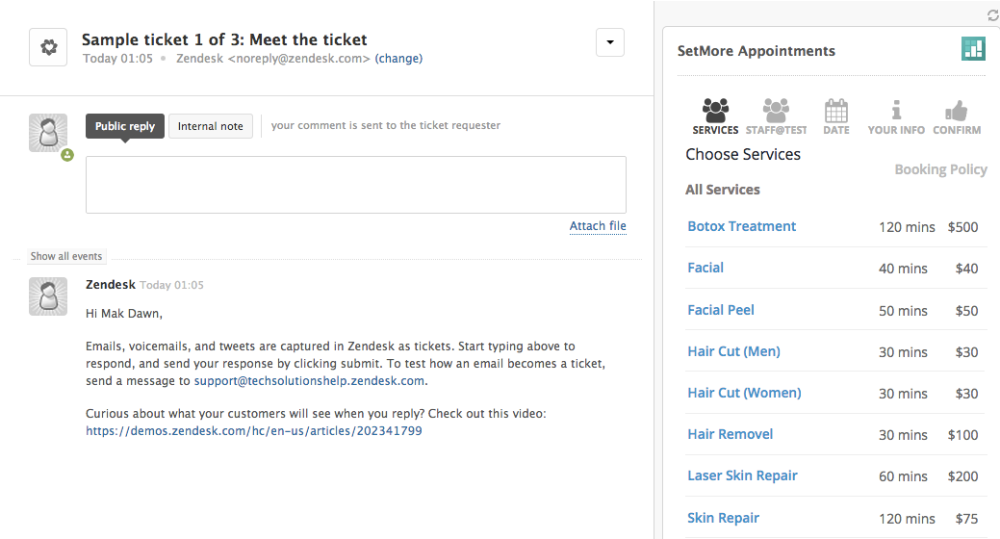 The Setmore Booking Page inside the Zendesk dashboard
