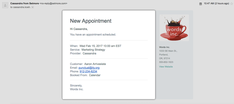 Setmore's new appointment confirmation emails for staff members