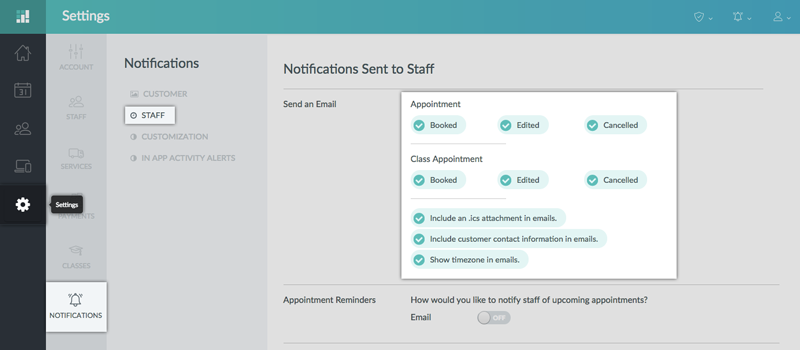 Setting up Staff email notification on the Setmore web app