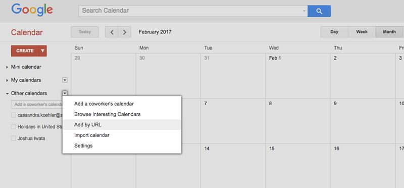 Adding the Staff Calendar URL to Google Calendar